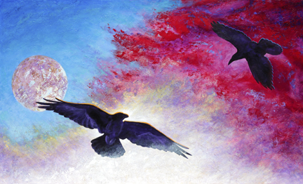 Pair of ravens in the sky with the moon