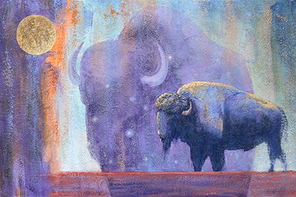 A star studded dream buffalo emerges in the background behind a standing bison.