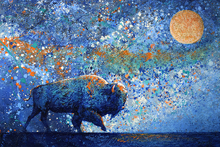 Deep blue bison with orange highlights stalks through a surreal sky with a glowing moon.