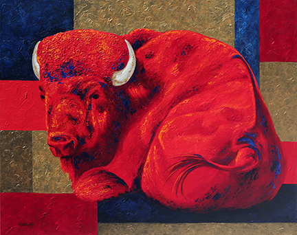 Red bison prepares to sleep against a richly textured geometric background