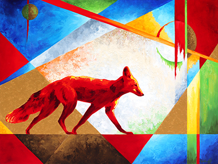 A mama fox is on the hunt, accented by angular geometric shapes