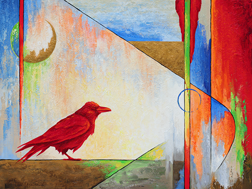 Red raven and colorful geometric background