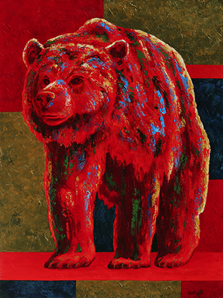 Red grizzly bear with blue and green accents