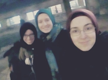 At the mosque with my students.
