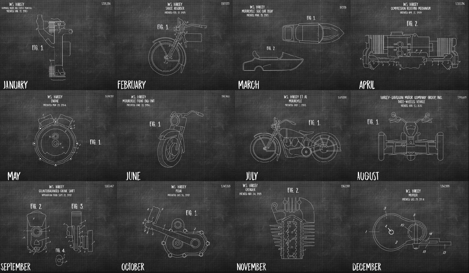 "Harley Davidson ""Patent"" Calendar Design"