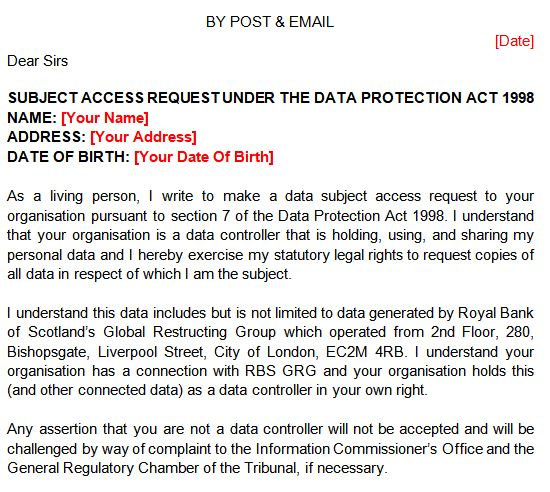 Template Letter Data Protection Request