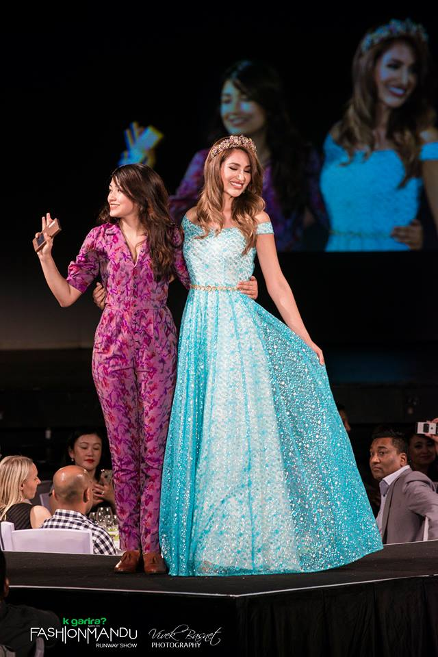 Designer Rasna Shrestha (MuCe) with showstopper Dayanna Grageda