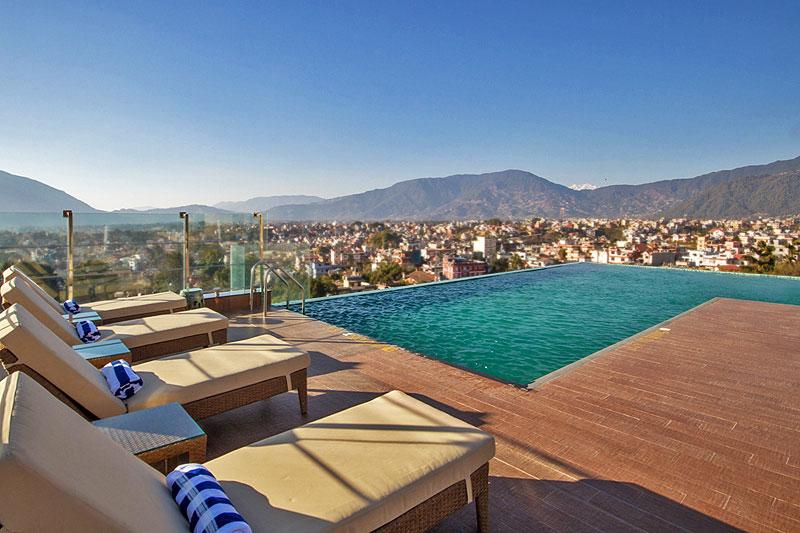 infinity pool with a view hotel shambala nepal lexlimbu