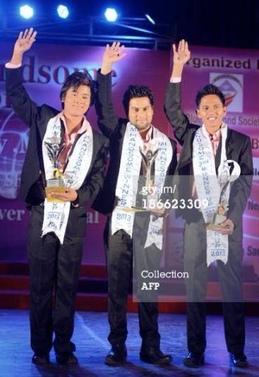 Mr Handsome Nepal 2013 Winner Bishwo Raj Adhikari (centre). First Runner up Anup Shrestha (left) and Second Runner Up Rahul Shrestha (right).