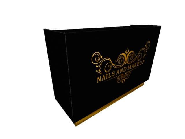 Recepcja lada czarny lacobel ze srebrnym lustrzanym logo 170x120x50