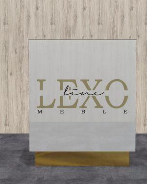 Recepcja lada biały lacobel ze złotym lustrzanym logo i cokołami 100x120x50