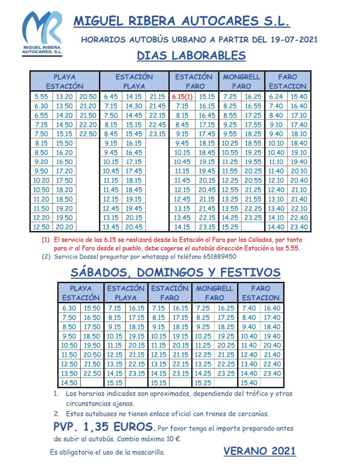 HORARIS BUS URBÀ DE CULLERA