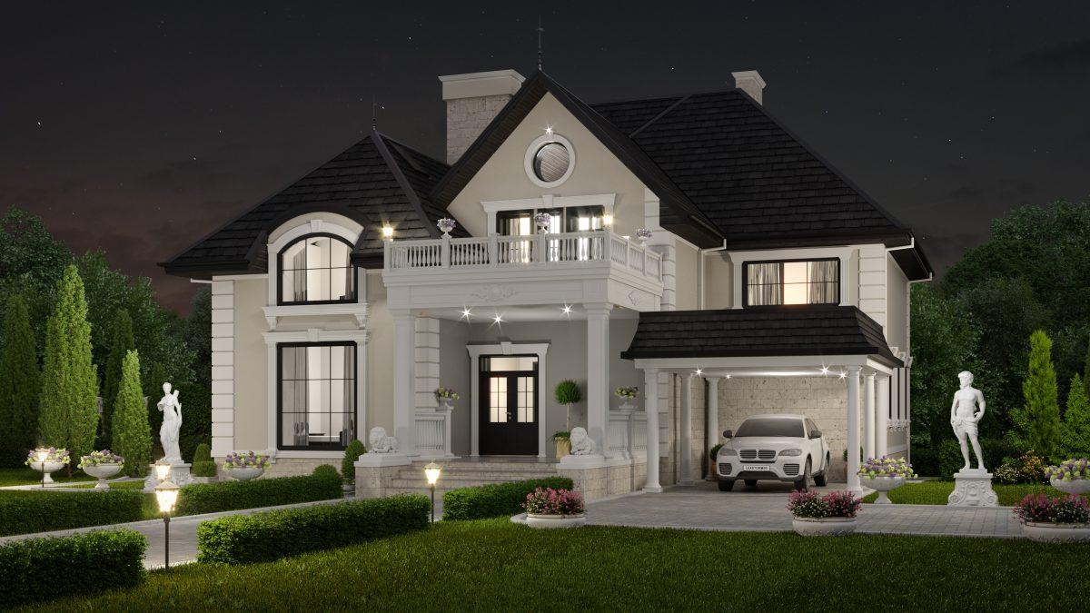 Дом в классическом стиле - ночь-Р2