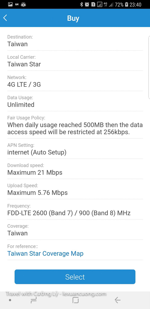 Packet information, Internet quality of the 4g package on Airsim