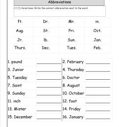 Abbreviations Worksheets Printable   Printable Worksheets and Activities  for Teachers [ 1650 x 1275 Pixel ]