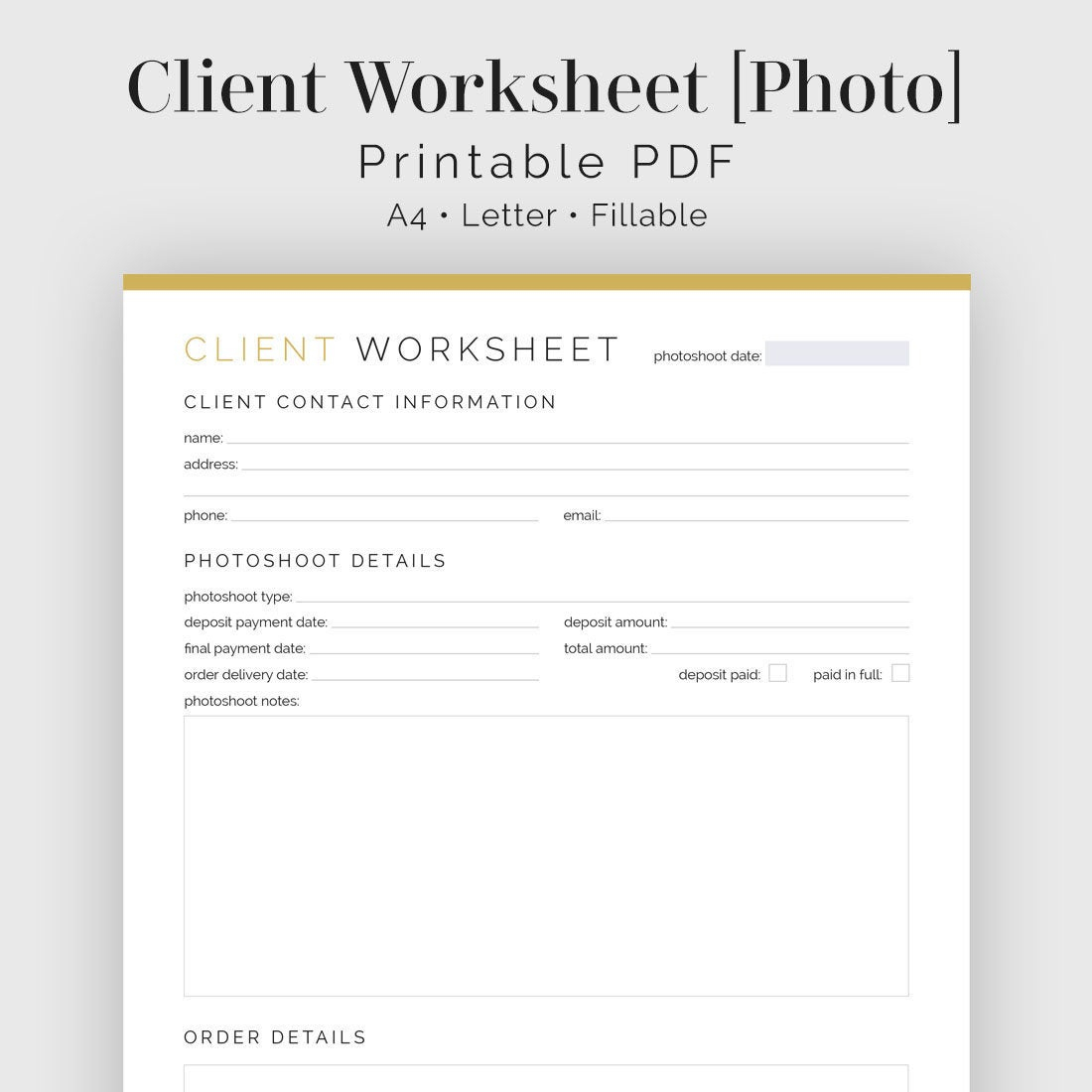 Printable Photography Worksheets