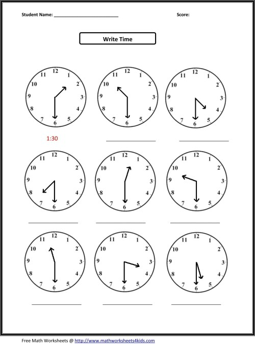 small resolution of Time To The Hour Worksheets 1st Grade   Printable Worksheets and Activities  for Teachers