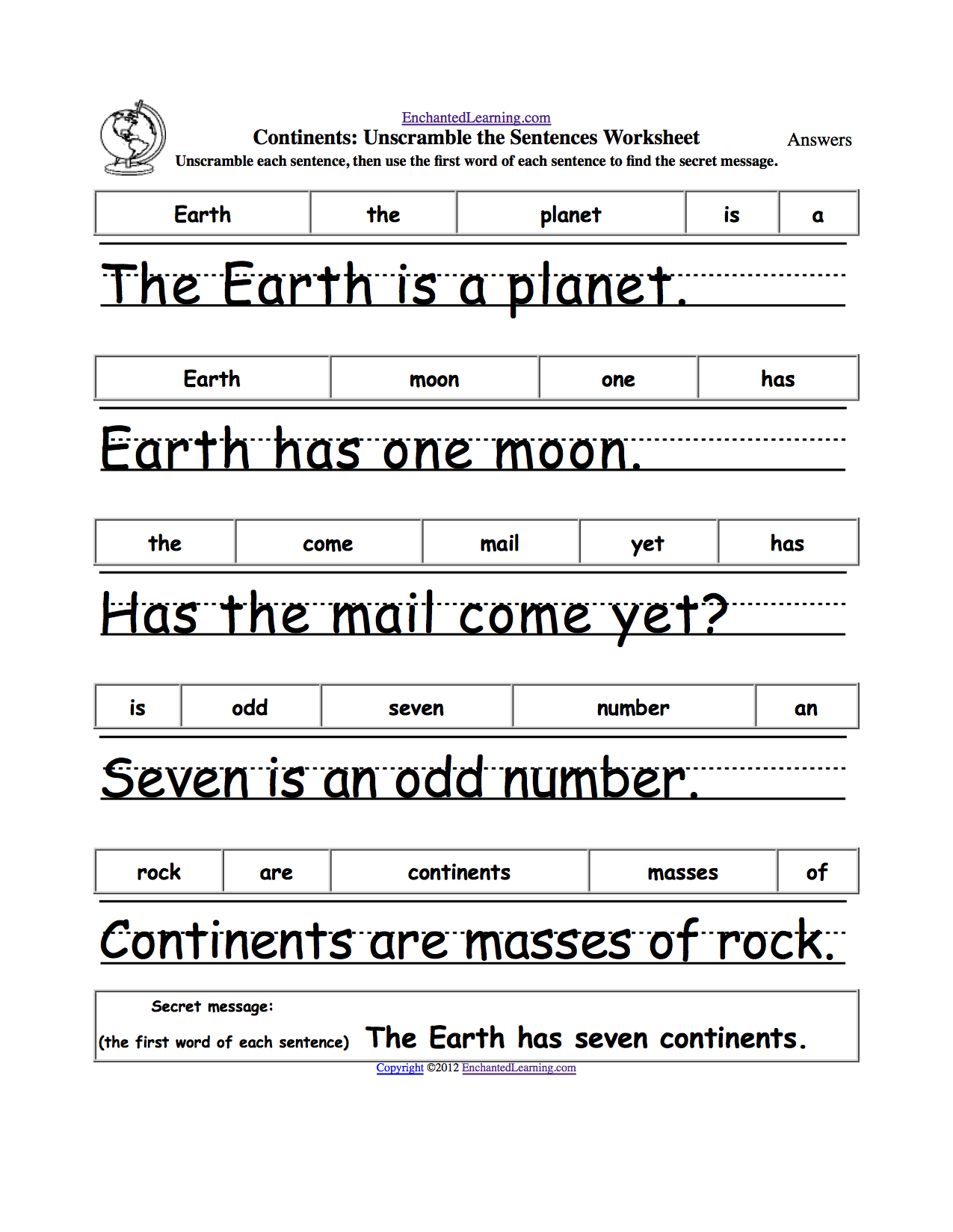Free Printable Scrambled Sentences Worksheets