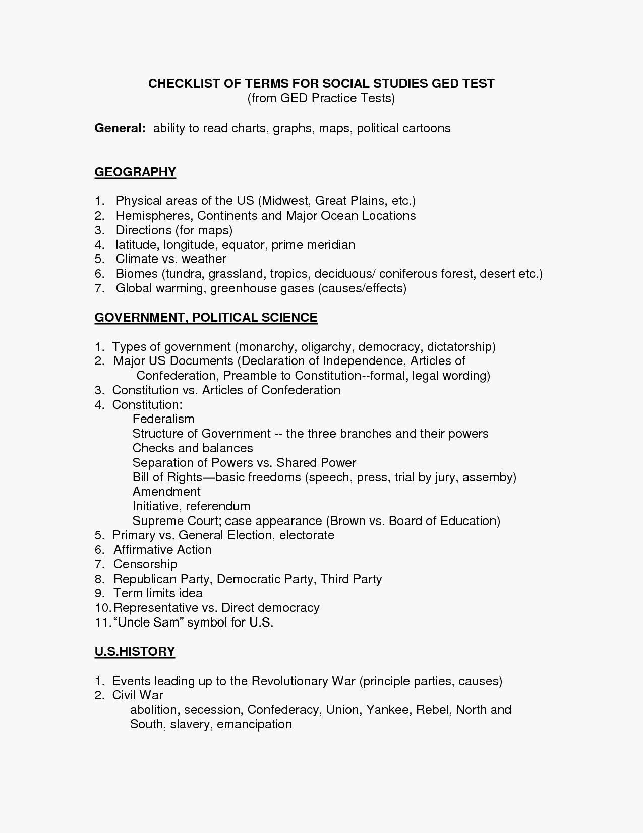 Printable Ged Science Practice Worksheets