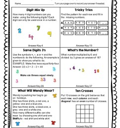 Math Puzzles Worksheets   Printable Worksheets and Activities for Teachers [ 3308 x 2479 Pixel ]