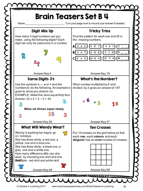 small resolution of Math Puzzles Worksheets   Printable Worksheets and Activities for Teachers