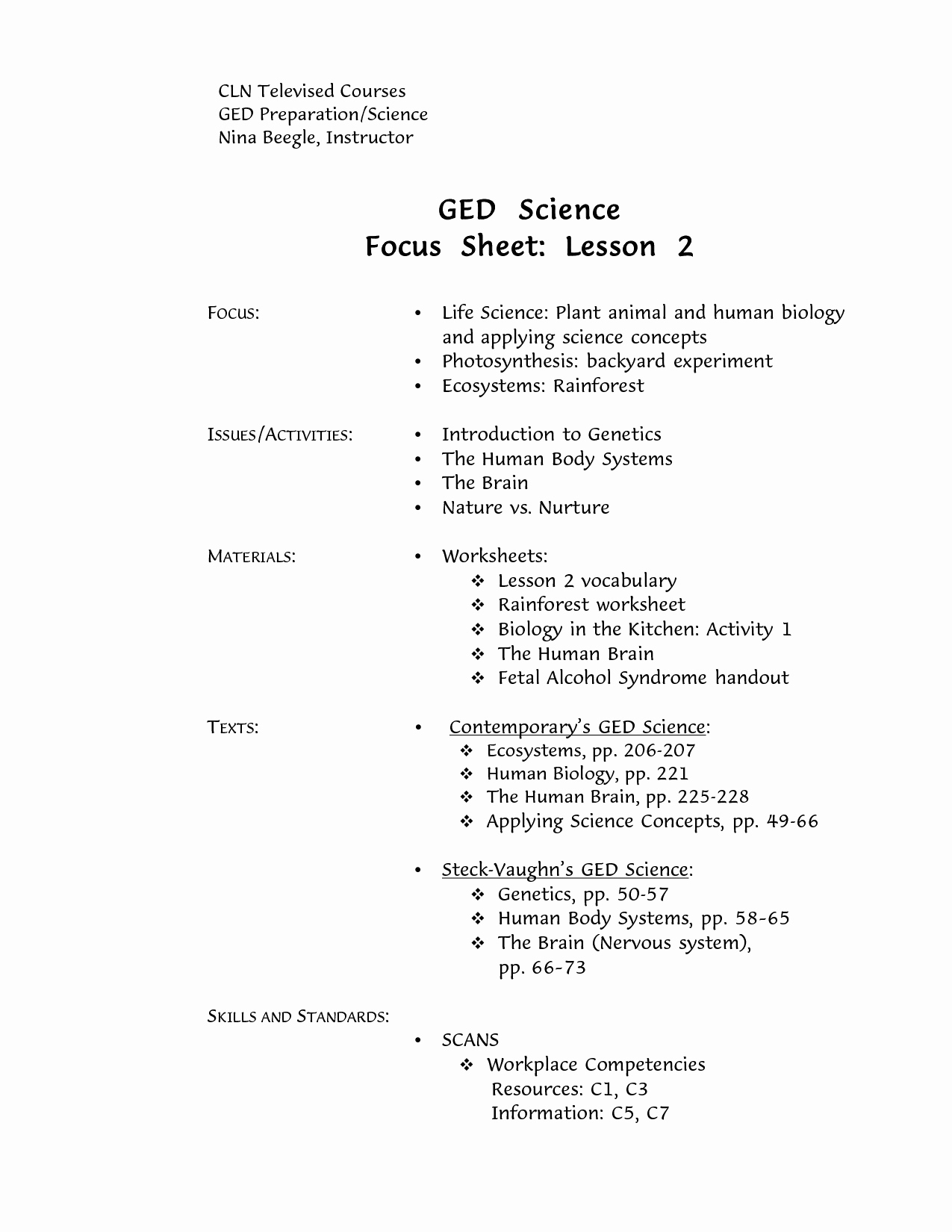 Printable Ged Science Practice Worksheets