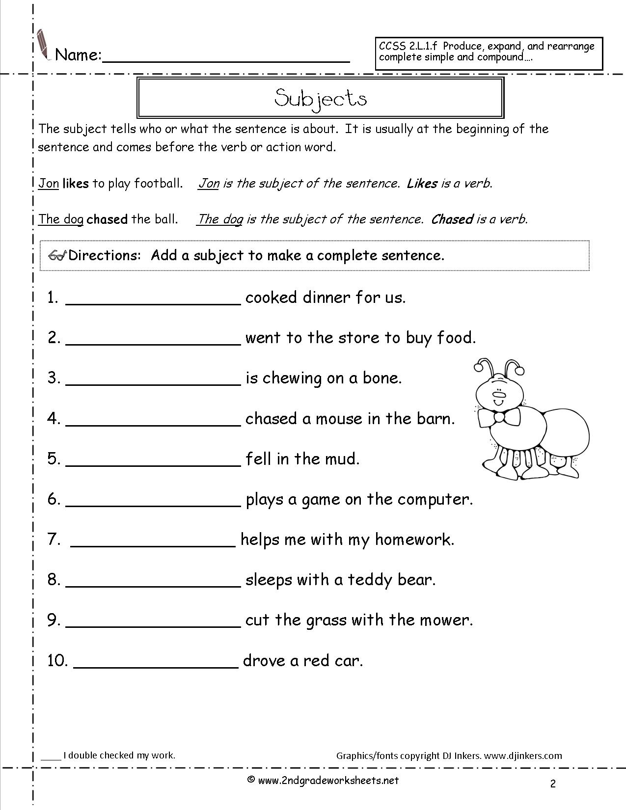 Free Printable Subject Predicate Worksheets 2nd Grade