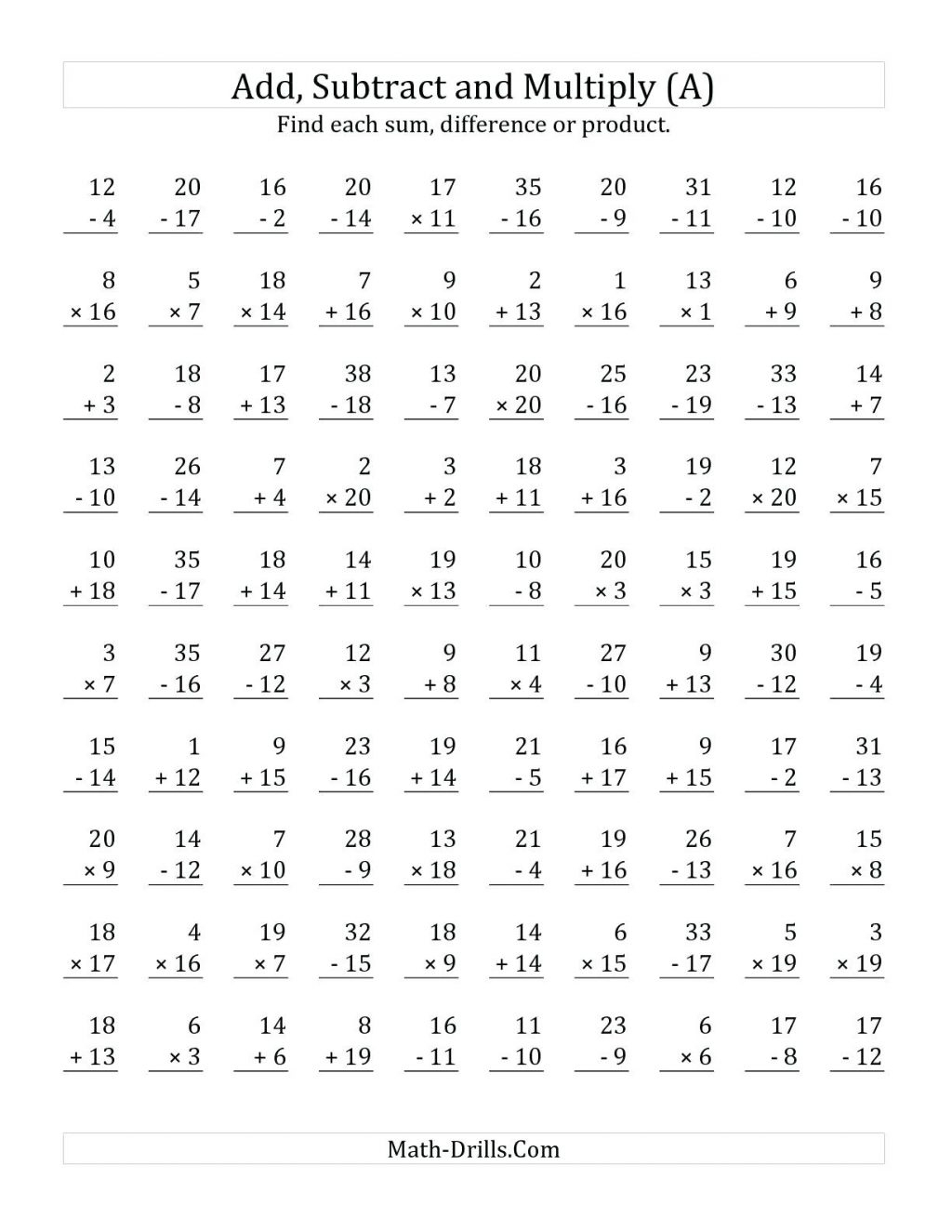 Multiplication Mad Minute