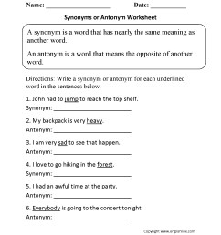 Free Synonym Worksheet   Printable Worksheets and Activities for Teachers [ 2200 x 1700 Pixel ]