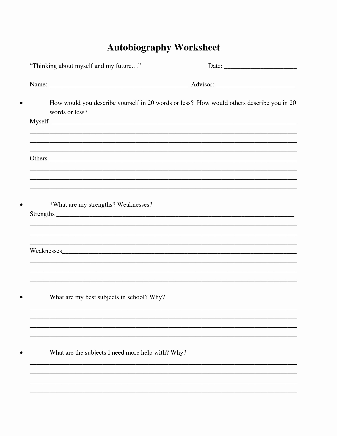 Printable Biography Worksheets