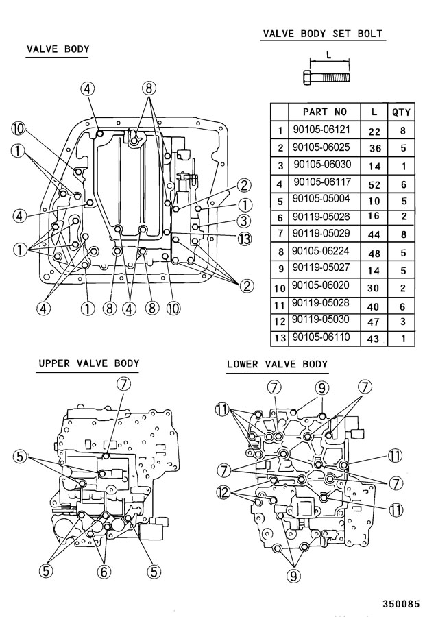 91 Toyota automatic transmission valve body assembly