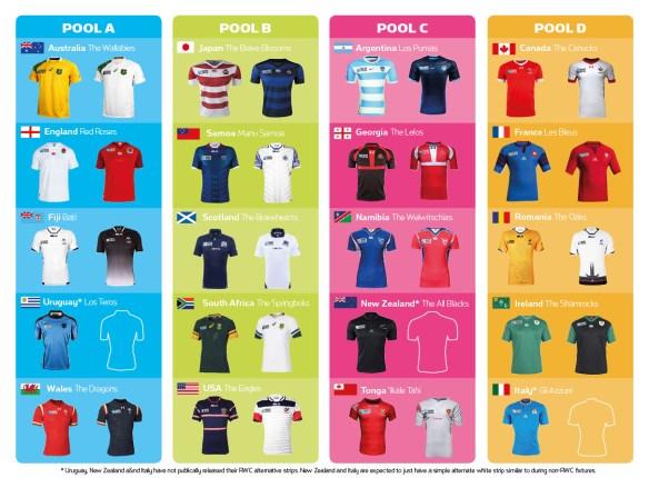 Les équipes qualifiées pour la Coupe du monde de rugby 2015