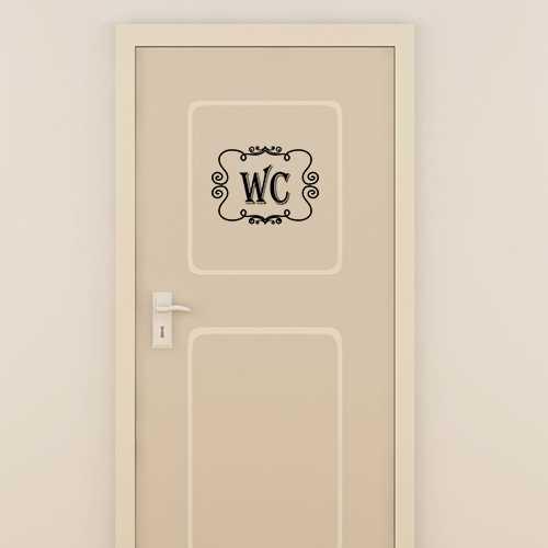 sticker porte wc vintage
