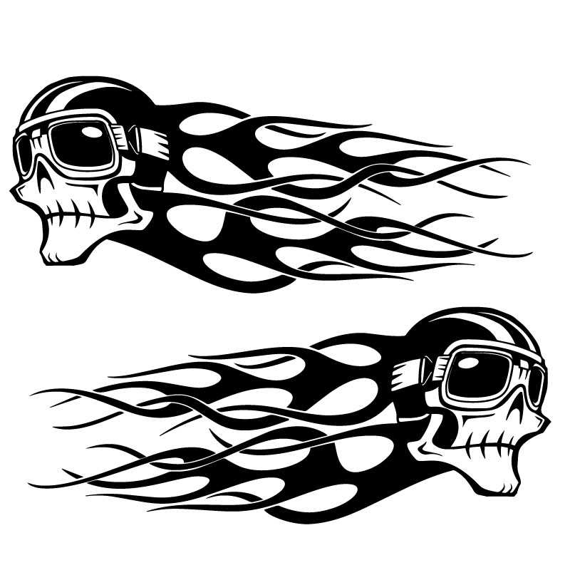 Kit de 2 Autocollants Harley Davidson Skull Flammes Ancien