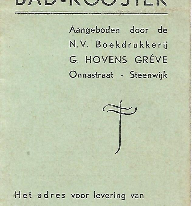Bad-rooster met Uren van Openstelling der Nuts Bad- en Zweminrichting Steenwijk (1939)