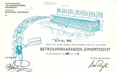 Diploma – Betrouwbaarheids-zwemtocht Watervrienden Amsterdam (1953)