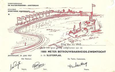 Diploma – Betrouwbaarheids-zwemtocht Watervrienden Amsterdam (1957)