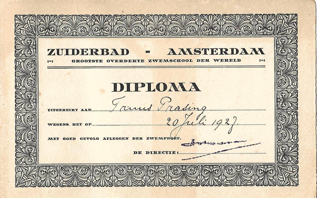 Diploma – Zuiderbad Amsterdam (1927)
