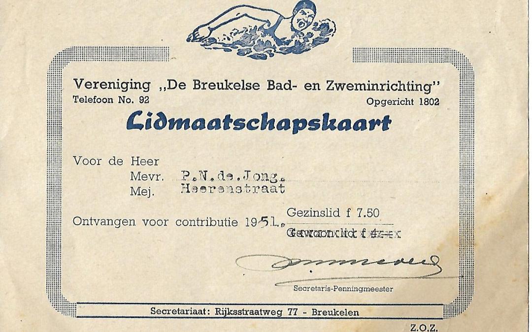 Lidmaatschapskaart – De Breukelse Bad- en Zweminrichting (1951)