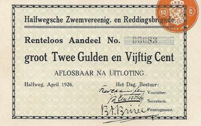 Aandeel – Halfwegsche Zwemvereeniging en Reddingsbrigade (1926)
