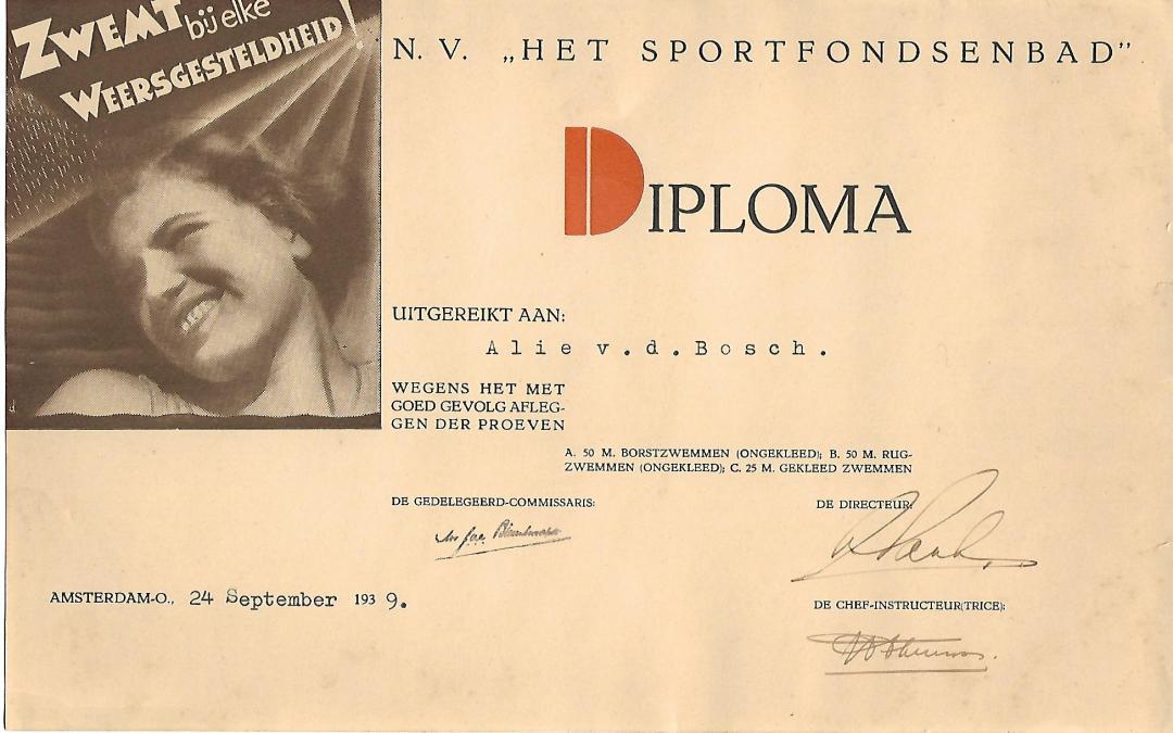 Diploma – Sportfondsenbad-Oost Amsterdam (1939)