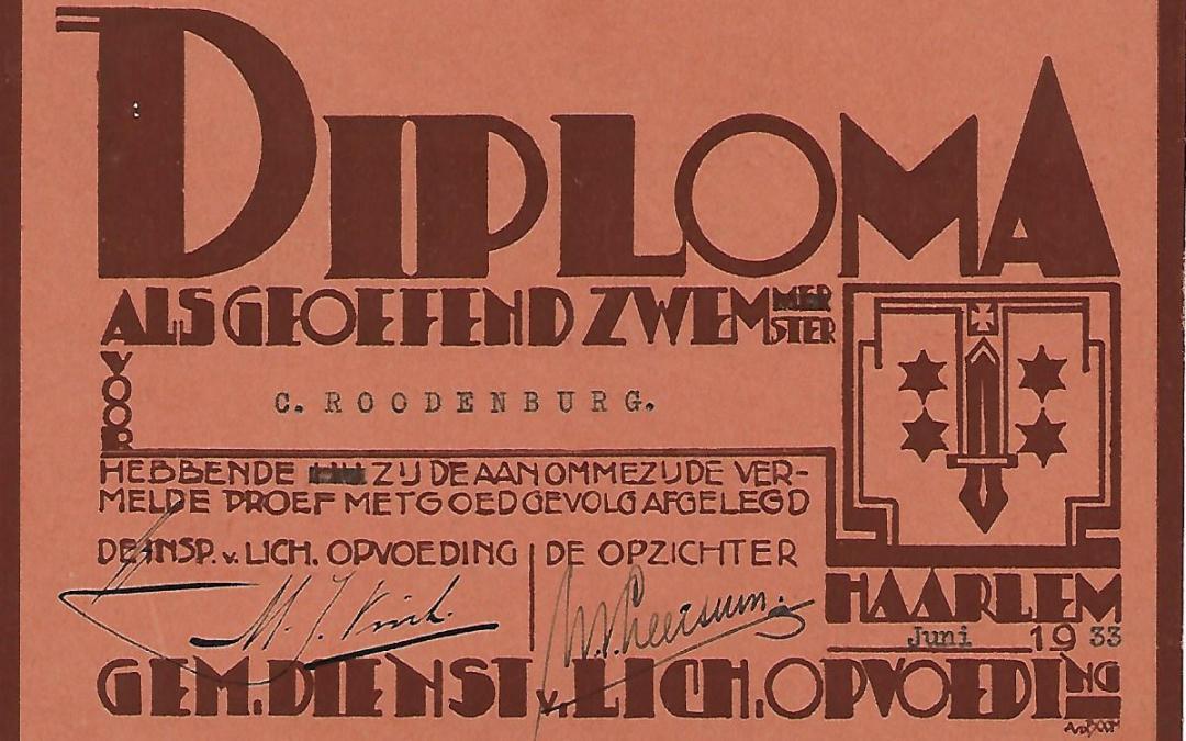 Diploma – Gemeentelijke Dienst voor Lichamelijke Opvoeding Haarlem (1933)