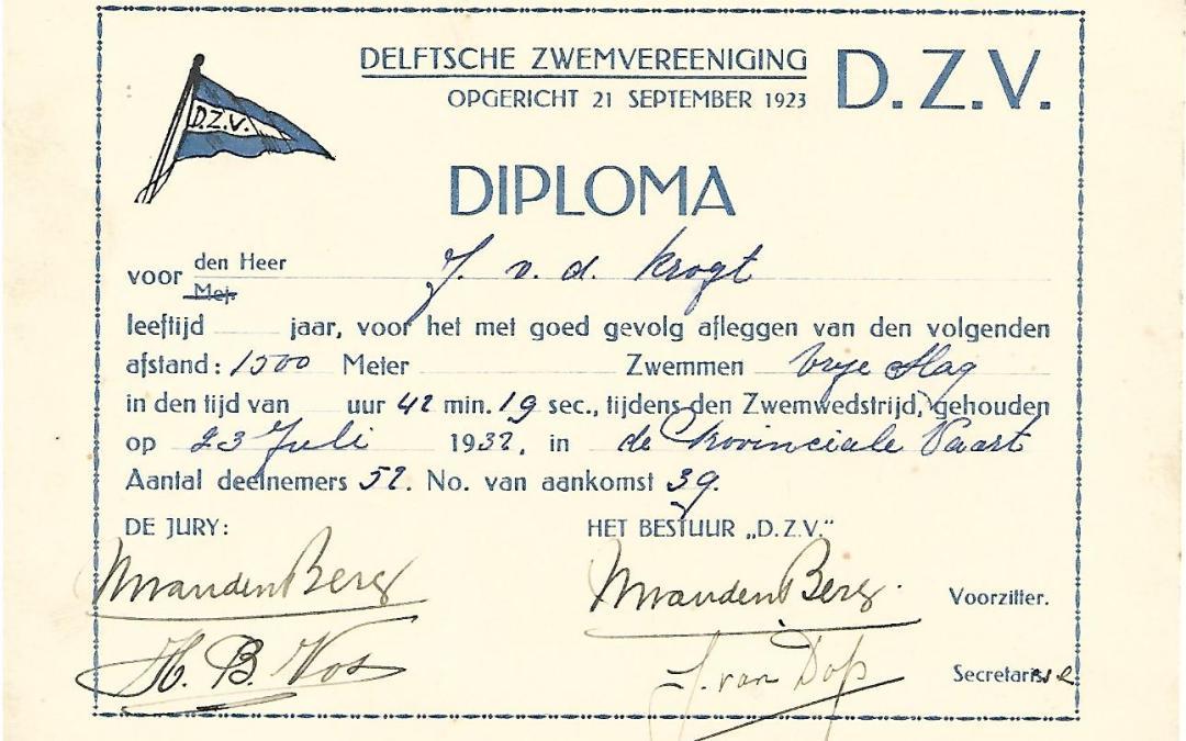 Diploma – 1500 meter zwemwedstrijd (1932)