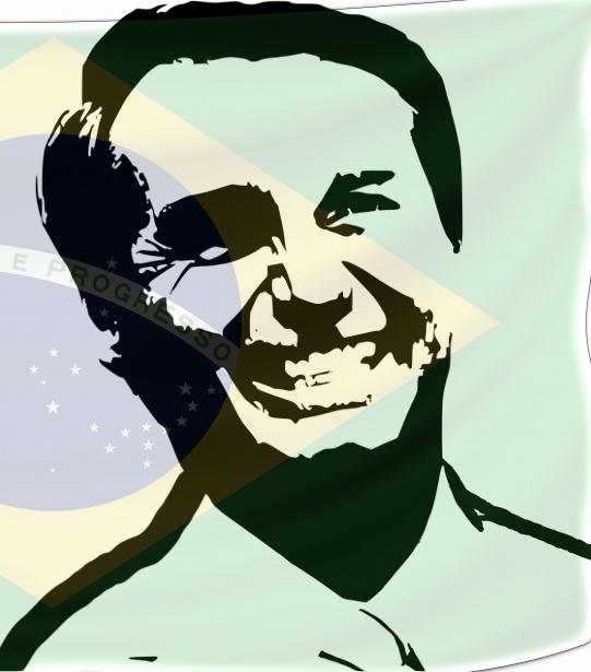Jair Bolsonaro et son drapeau brésilien