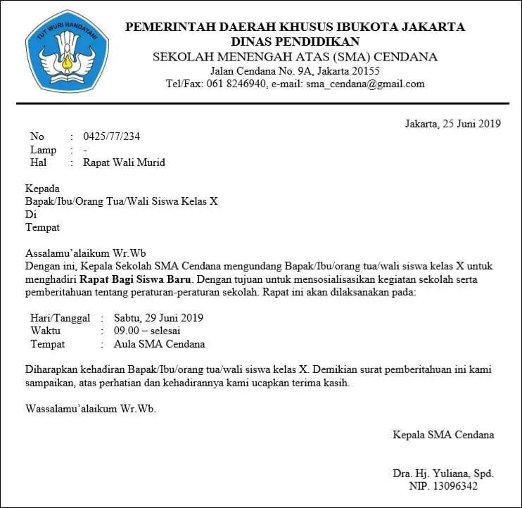 Contoh Surat Resmi Undangan