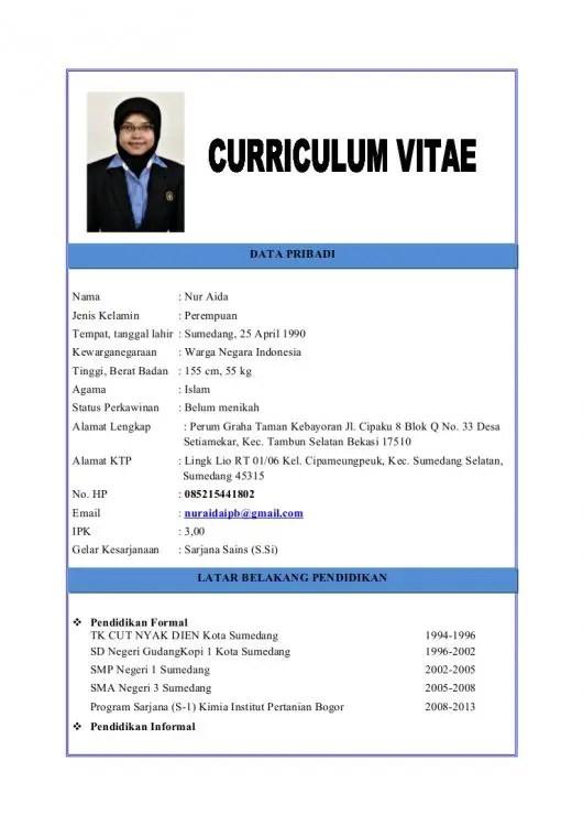 Contoh CV Unik Untuk Guru TK