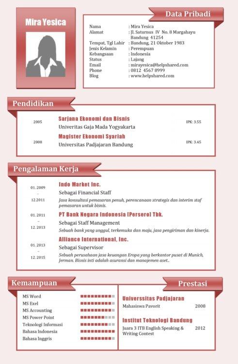 Contoh Format CV Kreatif