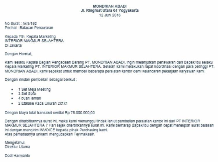 Contoh Surat Balasan PT