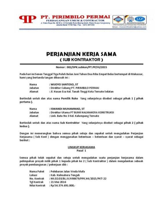 Contoh Surat Dinas Perjanjian