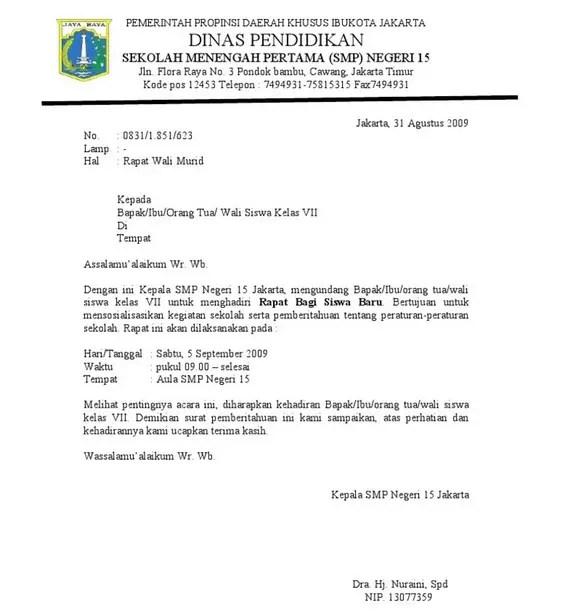 Contoh Surat Dinas Sekolah